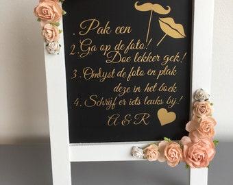 Floral chalk board// wedding decor// birthday decor// baptism decor
