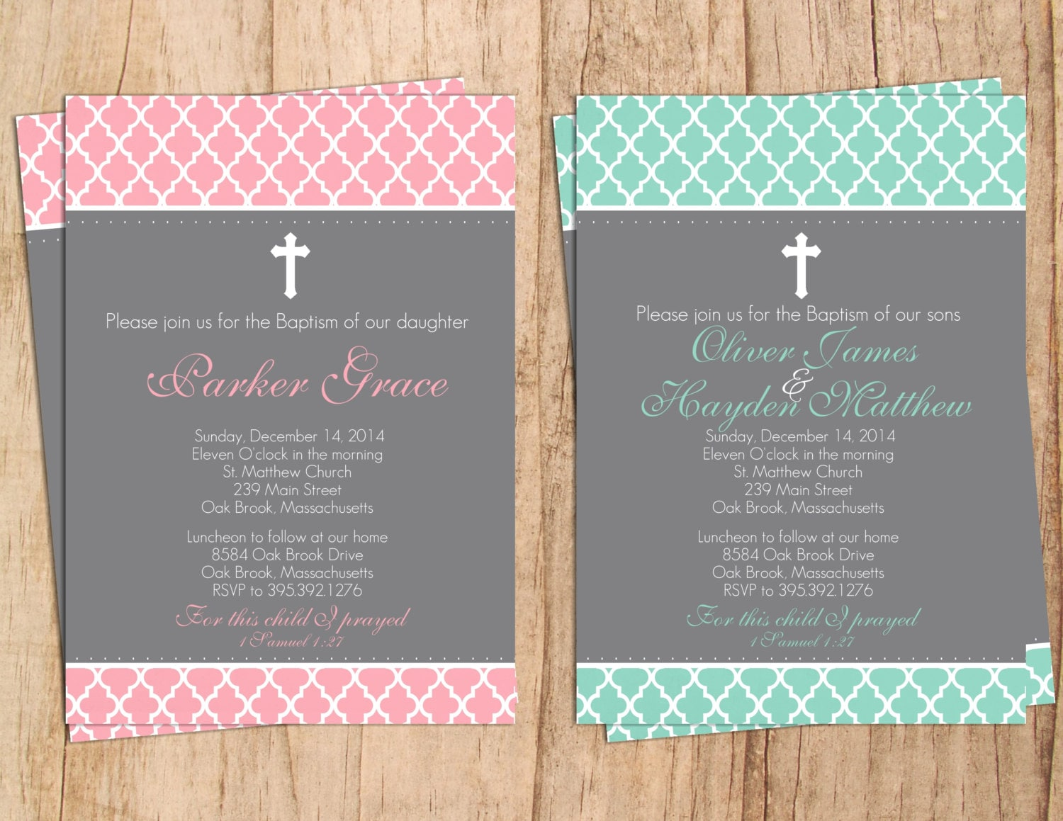 Modern quatrefoil baptism invitation jpeg or pdf file zoom stopboris Image collections