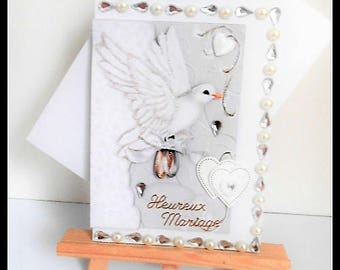 white wedding Dove and ring bearer card