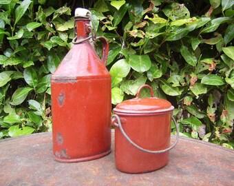 OLD bottle and Bowl / / enamel / / lunch //Vintage needed