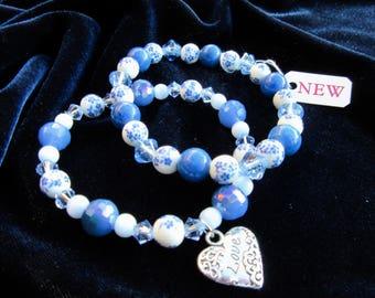 One of a Kind Blue & Ceramic Beaded Heart Charm Stretch Bracelet Set