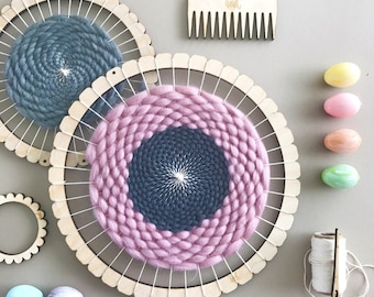 Circular Weaving Loom Kit.  Medium lap loom.  Learn to frame weave, tapestry.  Beginners learn to weave.