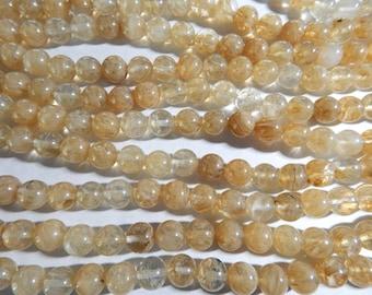 10mm Light Yellow Cherry Quartz Round Polished Gemstone Beads, Half Strand (INDOC53)