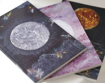 A6 Notebooks, Moon Notebooks, Recycled Paper Notebook Set of 3, Blank Notebook, Moon Notebook, Moon Journal, Moon Art, Moon Gifts