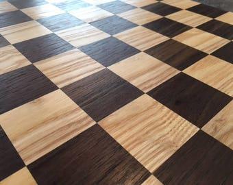 Ash and Peruvian Walnut Chess Board