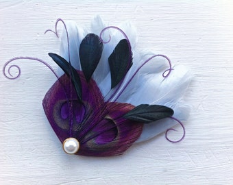 JOLIE in Grape Purple, Grey, and Black Peacock Mini Feather Hair Clip with Gold Pearl, Feather Fascinator