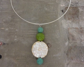 Mother's day gift. White Pearl, Pearl, green and blue turquoise pendant. Upcycling