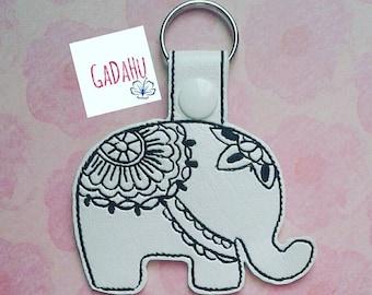 Elephant Mandala Key Fob Snap Tab Embroidery Design 4X4 size