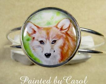 Corgi Bracelet, Red Pembroke Welsh Corgi Jewelry, Corgi Gifts, Corgi Mom Gifts, Jewelry with Corgi, Bracelet with Corgi, Corgi Cuff