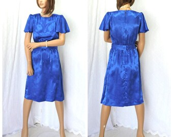 Blue silk secretary dress / size S / Vintage 70s secretary dress / Leslie Fay 1970s silk embossed mod retro career dress / USA union made