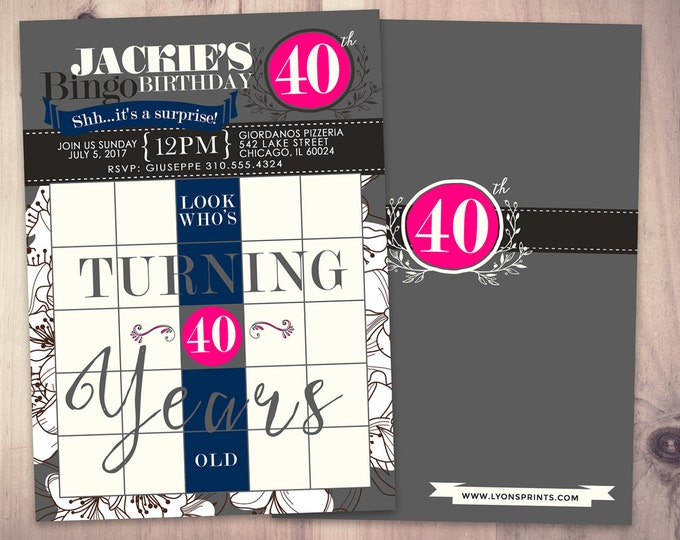 BINGO card birthday invitation, surprise party, 30th, 40th, 50th, 60th, 70th, party game