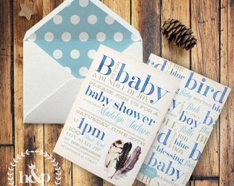 Watercolor Storybook B is for Baby Watercolor Baby Shower Invitation