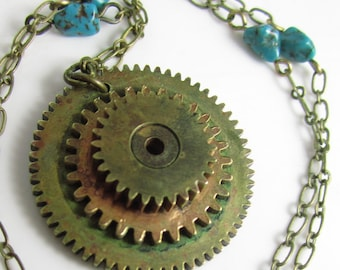 Wheel Spinning  Necklace - Vintage Brass Gears and Turquoise