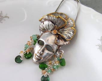 Green goddess mask, handmade recycled fine silver face mask pendant featuring a gingko leaf headdress edged with 22k gold, sapphires-OOAK