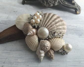 Beach Wedding No.16 - Shimmering Champagne Pearl Seashell and Vintage Jewel Assemblage Bridal Hair Comb, Coastal Wedding