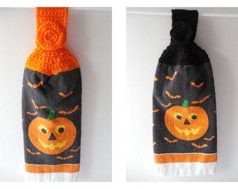 Halloween Pumpkin Hanging Towel - Black or Orange- Crochet Top - Handmade Crochet - Halloween Decor - Ready to Ship