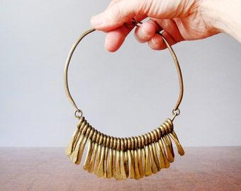 Vintage Handmade Brass Choker Necklace - Statement / Runway