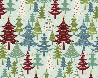 Christmas Fabric - Jolly Penguin & Friends Pine Trees Light Blue - Benartex YARD