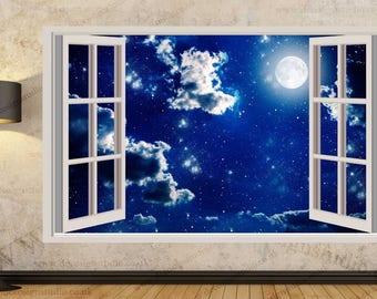 Moonlight Night Sky  3D Window Effect Wall Sticker Art Mural Decal 313a