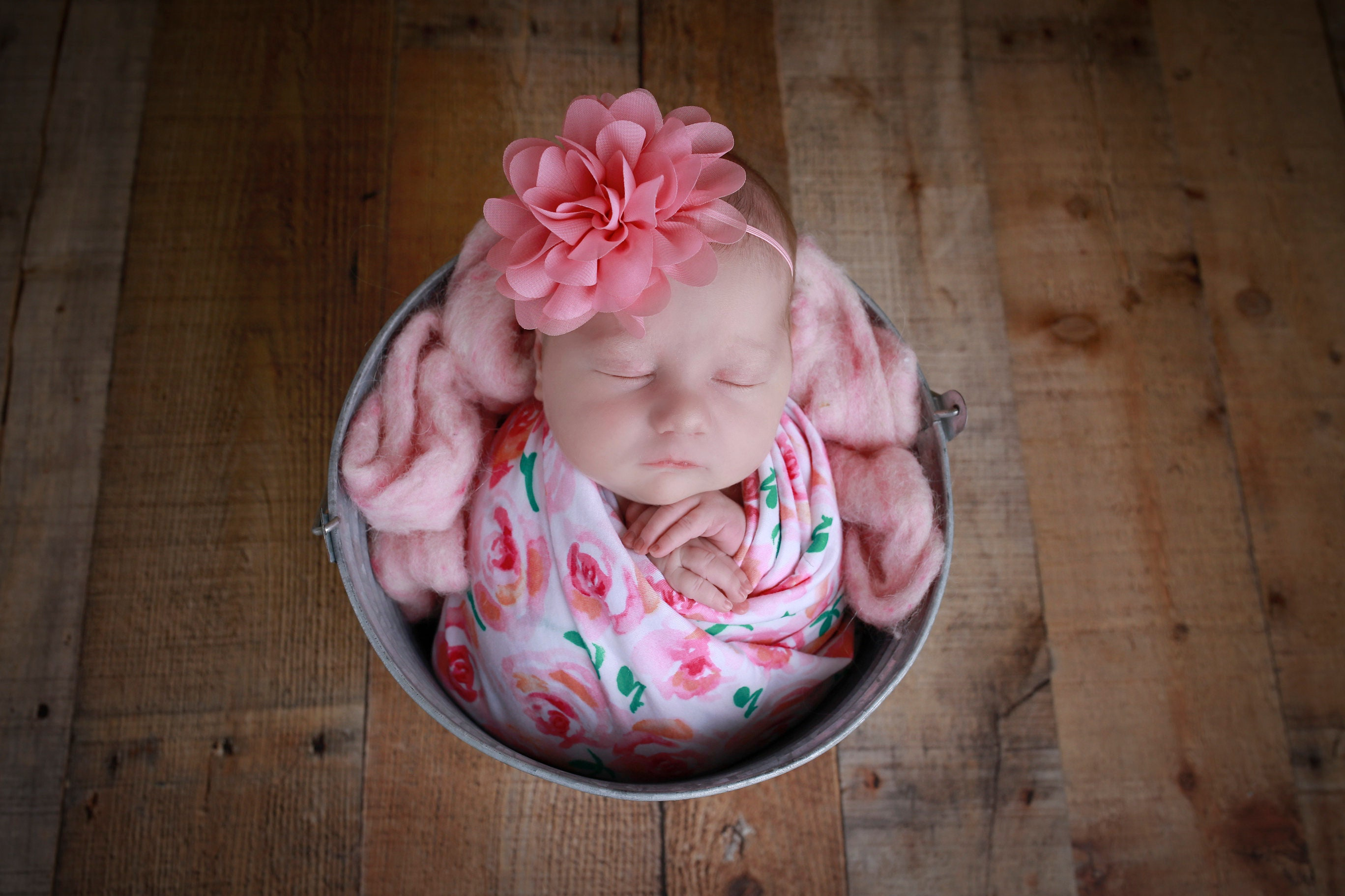 Newborn Pink And White Floral Knit Baby Swaddle For Photos Andor