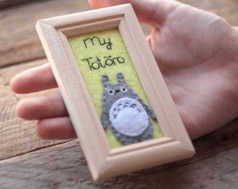 Little Totoro Framed Picture Kawaii  Nursery Decor Wall Art Wall Hanging Framed Felt Totoro Tapestry, Totoro Home Décor, Wood Frame Anime