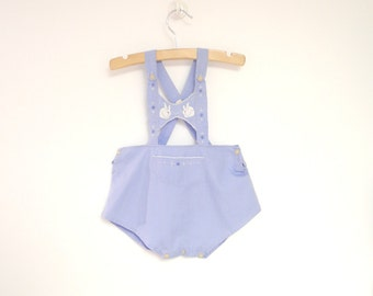 Vintage Baby Clothes, 1940's Handmade Sky Blue and White Baby Boy Romper, Vintage Baby Romper, Blue Baby Romper, Size 6-12 Months