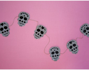 Platinum silver glitter dia de los muertos skull garland strung on metallic silver & natural colored hemp twine  MADE TO ORDER