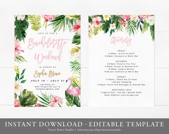 Tropical Flamingo Bachelorette Weekend Invitation and Itinerary Card | Instant Download, Editable, Printable |  Summer, Tropical | DC023