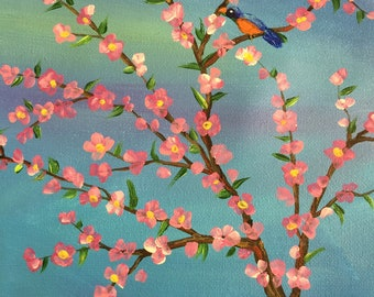 Blue Bird in a Cherry tree