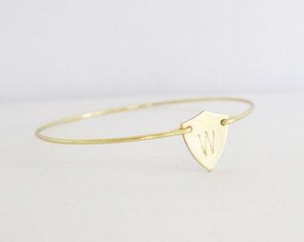 Personalized Bracelet, Monogram Bracelet, Shield Initial Bangle, Custom Jewelry, Personalized Jewelry,  Initial Monogram Bracelet