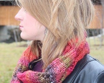 Wool Hand Knit Red Flame Cowl