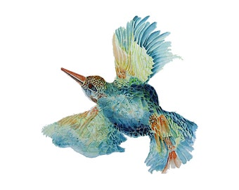 """Bird in the Air, inspecting its territory. Giclee print 10x8"""""""