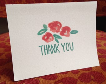 Watercolored Thank You Notes, red floral - 10ct.