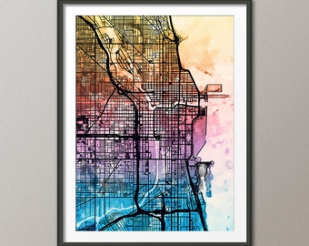 Chicago Map, Chicago Illinois City Street Map, Art Print (2076)