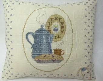 Blueberry Pie Cross Stitch Decorative Pillow Pie and Coffee Kitchen Decor Dessert