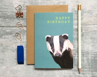 Badger Birthday Card - Badger Card - Birthday Card - Woodland Animal - Animal Card - Badger Greeting Card - Greeting Card - Badger