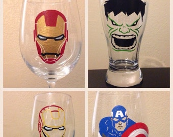 One hand painted Avengers glass