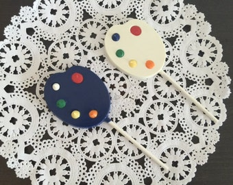 PAINTERS PALETTE Chocolate Lollipop(12 qty) - Party Favors/Birthday Favors/Paint Party/Art Party/Artist/Painting/Painting PartyArtist