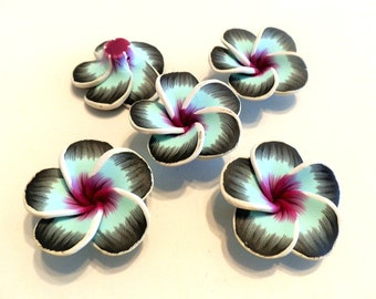 New 10 Fimo Polymer Fimo Black Turquoise Fuschia  Flowers Beads 40mm