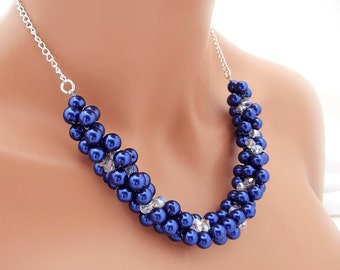 Royal Blue Necklace, Chunky Pearl Necklace, Cobalt Blue Wedding Jewelry, Bridesmaid Necklace, Bridal Pearl Jewelry