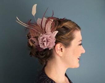 Comes love Fascinator altrosa kupfer blush rosé Federn Haarschmuck headpiece Hochzeit Brautschmuck pastell Puder mauve malve rosenholz