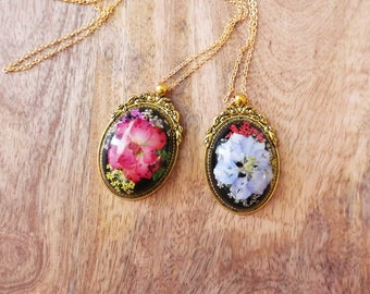 Resin Necklace Red flower/Purple flower Black Eco Natural Charm Pendant For Women/ Girls