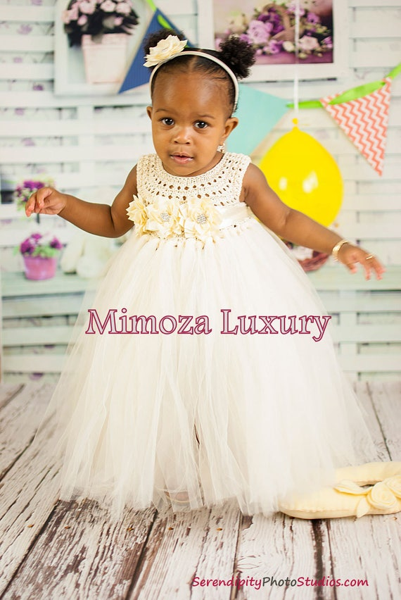Ivory Flower Girl Dress, Baby girl dress, ivory infant dress, ivory tulle dress, 1st birthday dress, infant girl dress, christening dress