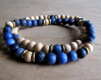 Men's Bracelet Set Yoga Bracelet Gemstone Bracelet Boho Healing Bracelet Men's Jewelry Mens Gift Boyfriend Gift Surfer Bracelet Husband Gift