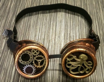 Steampunk Nautical Red Copper Effect Goggles Glasses Clock Wheels Kracken Octopus Festivals Burning Man  Gothic Cosplay