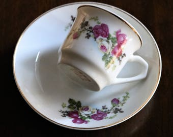 Vintage Demitasse Cup and Saucer, Pink Roses Mini Tea Cup, Small Teacup and Saucer, Tea Party, Demitasse Cup, Espresso Cup