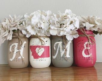Home Mason Jars, Home State Mason jar set, Set of 4 pint size Mason jars, Shabby Chic decor, Rustic Home decor, Farmhouse, Housewarming gift
