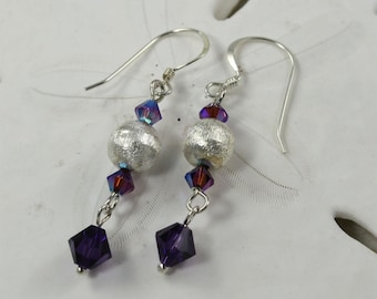SALE Purple Earrings, Crystal Earrings, Sterling Silver Earrings