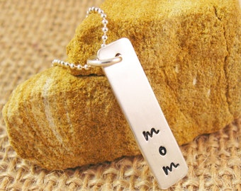 Hand stamped mom necklace - mommy necklace - mom birthstone necklace - custom mom necklace - ready to ship