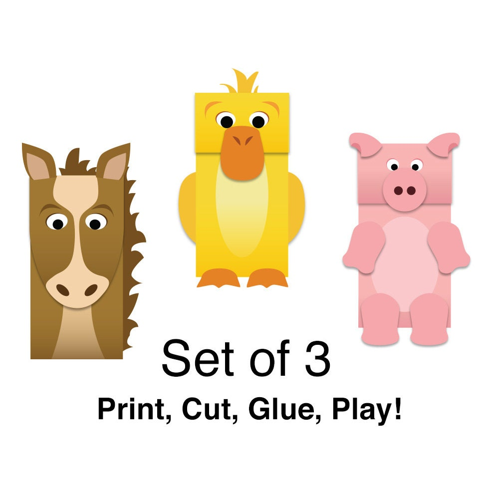 Farm Animals Paper Bag Puppets - FULL COLOR - Downloadable Kid\'s ...